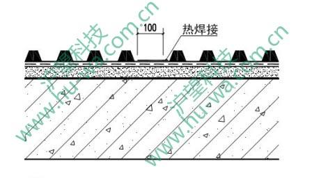 ①塑料防护排水板热焊接